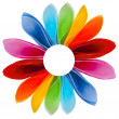 Decorative rainbow flower of colored paper napkins isolated on white background — Stock Photo