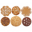 Different cookies set top view close up macro shot isolated on a white background — Stock Photo