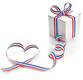 Gift Box Wrapped Ribbon Tape Shape Heart Valentine's Day concept — Stok fotoğraf