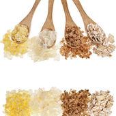 Flakes grain cereals Buckwheat, Oats, Millet, Rice — Stock Photo