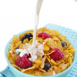 Corn flakes with fresh berries and pouring milk isolated on white background — Stock Photo