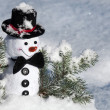 Happy Christmas snowman sitting in a snowy winter conifer fir tree — Stock Photo #28461675
