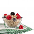 Oat flake in a bowl with fresh berries , diet concept isolated on white background — Stock Photo