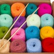 Colorful different thread balls of knitting yarn in a cardboard box isolated on white background — Stock Photo #28462819