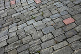 Sett bricks, texture or background, stone pavement — Stock Photo