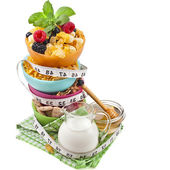 Diet weight loss breakfast concept with tape measure, tower stack isolated on a white background — Stock Photo