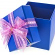 Holiday gift blue box with a pink bow. Isolated on white background — Stock Photo