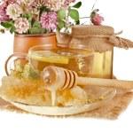 甜花蜂蜜在麻布,在白色背景上被隔绝在枪管和木制 drizzler — 图库照片