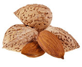 Almonds Seed Heap isolated on a white background — Stock Photo