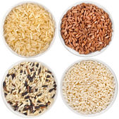 Collection set of rice heap in bowl top view surface close up isolated on white background — Stock Photo