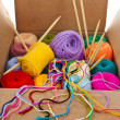 Stock Photo: Colorful different thread balls of knitting yarn in a cardboard box isolated on white background