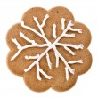 Christmas gingerbread cookies surface top view close up macro shot with snowflakes isolated on a white background — Stock Photo