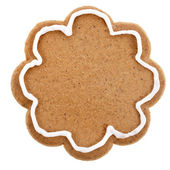 Christmas cookie surface top view close up isolated on a white background — Stock Photo
