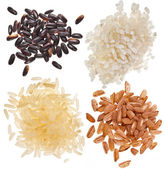 Set of rice pile heap close up isolated on a white background — Stock Photo