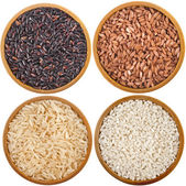 Collection of rice variety in bowl top view surface close up isolated on white background — Stock Photo