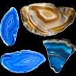 Collection of A slice of blue agate crystal — Stock Photo #32758265