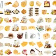 Collection set of dairy milk produce, cheese, cottage curd — Stock Photo