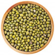 Green bean or mung bean in wooden bowl, top view close up — Stock Photo