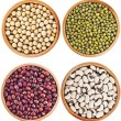 Collection set of Various dried kidney legumes haricot beans close up in wooden dish — Stock Photo #34310737