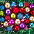 Christmas background with colorful balls — Foto Stock