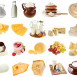 Collection set of dairy milk produce, cheese,curd, cottage close up — Stock Photo