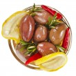 Olives dish with vegetables, herbs, spices surface top view  — Stock Photo