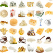 Collection set of dairy milk produce, cheese, cottage curd — Stock Photo #34311207