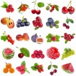 Collection set of fresh ripe fruits and berries close up — Stock Photo #34311303