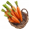 Carrot vegetables in a wooden basket — Stok fotoğraf
