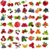 Collection set of fresh ripe fruits and berries close up — Foto de Stock