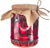 Compote glass jar with cherries fruits — Stock Photo