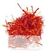 Moroccan saffron threads in bowl box — Stock Photo