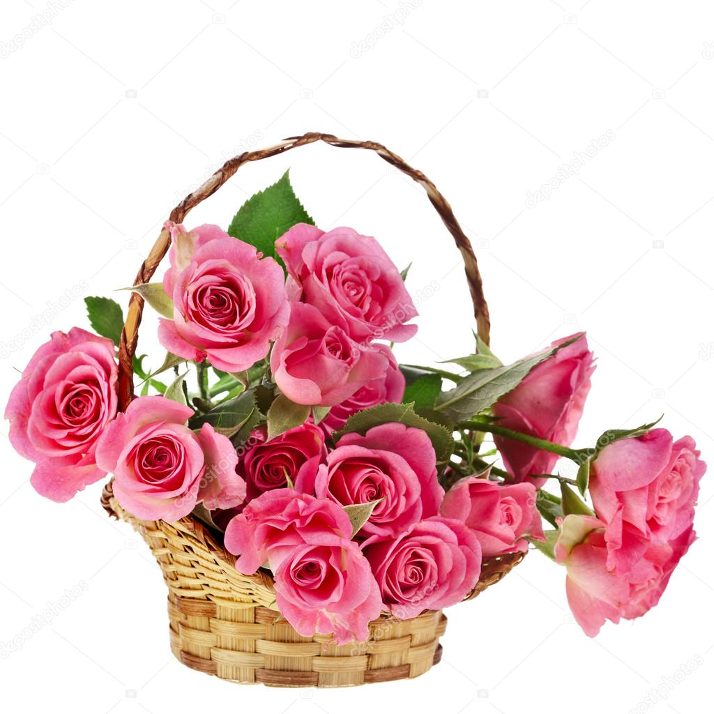 Beautiful bouquet of pink roses in a basket stock photo madllen 34310507 - Bouquet de rose artificielle ...