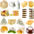 Collection set of dairy milk produce, cheese,curd, cottage — Stock Photo #34333413