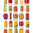 Collection set of many glass bottles with canned preserved food close up isolated on white background — Stock Photo #36634745