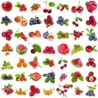 Large Collection set of fresh ripe fruits and berries close up sign objects isolated on white background — Foto de Stock