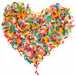 Colorful candy sprinkles heart shape isolated on white background — ストック写真