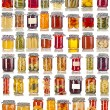 Collection set of many homemade glass bottles with preserved food close up isolated on white background — Stock Photo