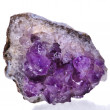 Beautiful amethyst druse close up isolated on white background - semiprecious gem used for jewels — 图库照片