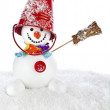 Cheerful snowman with red color bucket on his head and broom in hand isolated on white background — Stock Photo #36635335