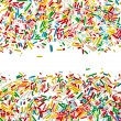 Border frame of colorful candy sprinkles isolated on white background card for text — Stock Photo #36635393
