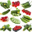 Collection set of fresh vegetables tomato and cucumber close up isolated on white background — Stock Photo