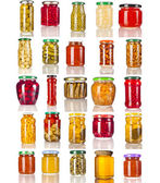Collection set of many glass bottles with canned preserved food close up isolated on white background — Stock Photo