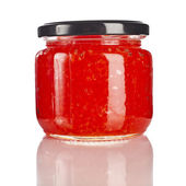 Can with red caviar close up isolated on a white background — Stock Photo