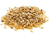 Flax seeds, Linseed, Lin seeds close-up isolated on white background — Stock Photo