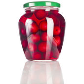 Compote glass jar with cherries fruits close up isolated on a white background — Stock Photo