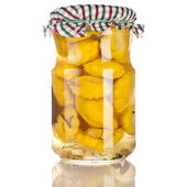 Natural squash pattypan homemade canned preserved in glass jars pots isolated on white background — Stock Photo