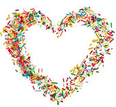 Heart shaped frame card made from colored sprinkles close up isolated on white background — Stock Photo