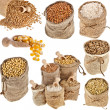 Collection set of kinds of cereal in small burlap bags isolated on white background — Stock Photo