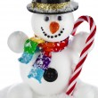 Funny snowman with black hat and striped stick in his hand isolated on white background — Stock Photo #38075583